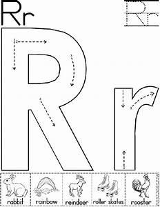 alphabet letter r worksheet standard block font With traceable letters for crafts