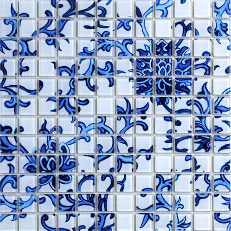 crystal glass tile blue white puzzle mosaic tile crackle