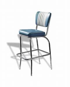 Chaise De Bar Bleu : chaise de bar dossier 4 pieds bel air vintage ~ Teatrodelosmanantiales.com Idées de Décoration