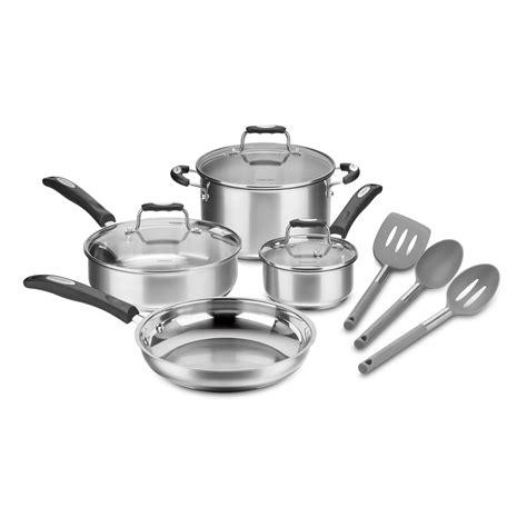 cuisinart  piece stainless steel cookware set gray tools walmartcom walmartcom