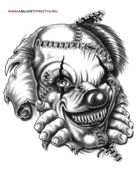 Black And White Monster Clown Tattoo Design