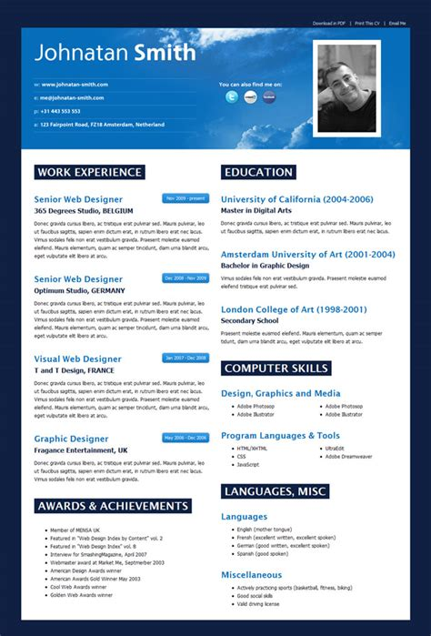 Best Design Resume Templates by Html Resume Templates