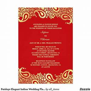 Indian wedding invitations rectangle potrait red gold for Free wedding invitation samples zazzle