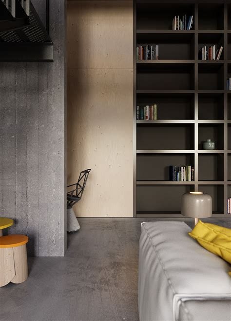 A Small Industrial Apartment With A Home Office Blue Decor by An Industrial Inspired Apartment With Sophisticated Style