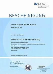 Bg Bau Rechnungen Vorlegen : zertifikate peter ahrens bauunternehmen gmbh ~ Lizthompson.info Haus und Dekorationen