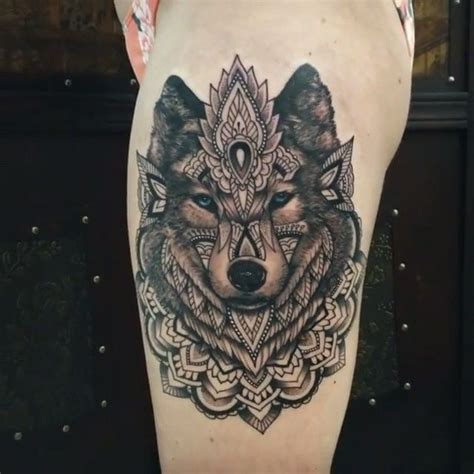 follow attattoovideos fun geometric wolf tighpiece featured artists collaboration