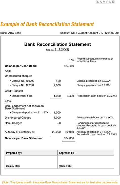 Business Bank Reconciliation Form