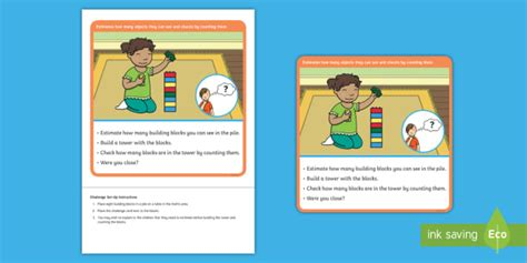 * New * Eyfs Maths Estimation And Counting Challenge Tower