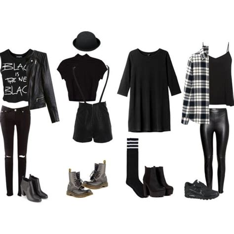 All Black Edgy Outfits by samsus on Polyvore featuring Monki Uniqlo Sallyu0026Circle Hu0026M Bardot ...