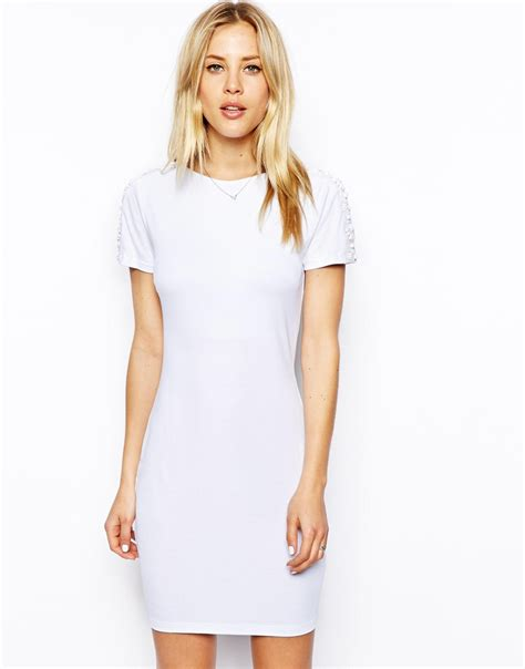 t shirt dresses asos embellished sleeve t shirt bodycon dress in white lyst