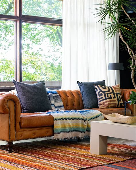 Chesterfield Sofa In Living Room by Chesterfield Sofa In Caramel Leather In Our Boho Chic