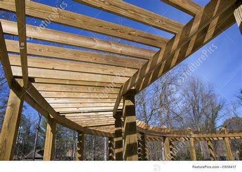 architectural details wood covered walkway stock