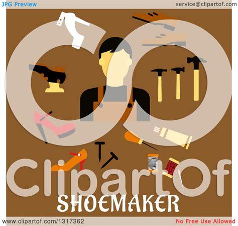 clipart   flat design shoe maker  tools  text