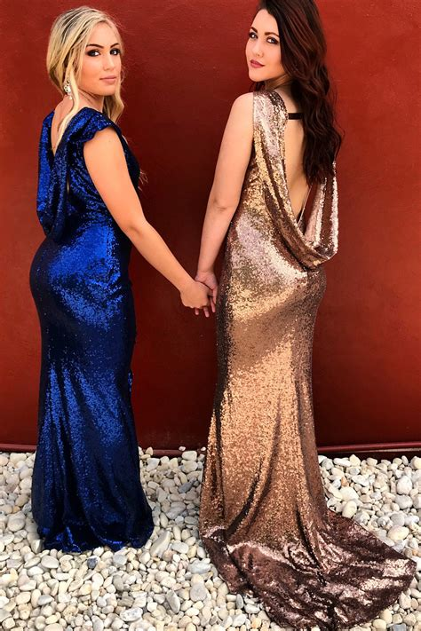 sparkly royal bluerose gold sequin mermaid bridesmaid dress