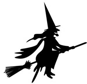 Witch On Broom Silhouette Clip Art