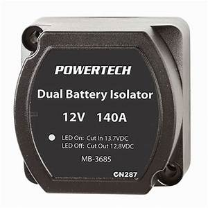 Powertech 140a Dual Battery Isolator Kit With Wiring