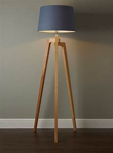 Coby wooden tripod floor lamp twmmh lighting for Make wooden floor lamp