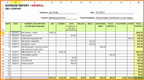 excel expense report template exceltemplates