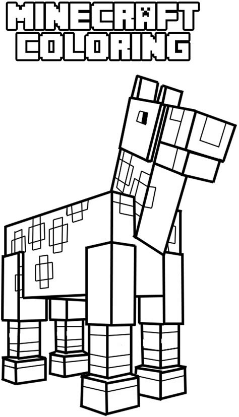minecraft horse coloring pages  children