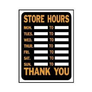 """Check out our cafe in downtown peoria! Lot 10 Hy-Ko 3030 Plastic Customizable Store Hours 9 x 12"""" Sign Orange and Black 