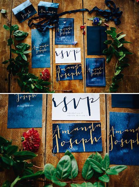 cobalt blue  gold watercolour wedding invitation suite