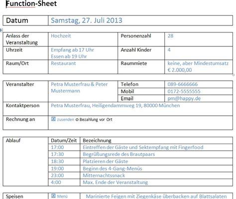 functionsheet und bankett laufzettel