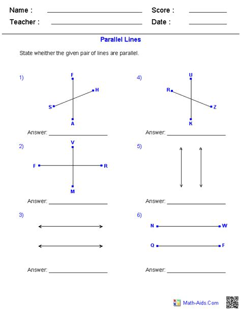 identifying parallel lines worksheets math aids