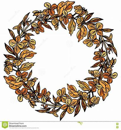 Autumn Wreath Clipart Leaves Round Frame Flowers