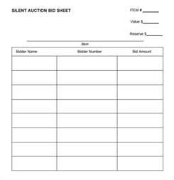 Printable Silent Auction Bid Sheets Template
