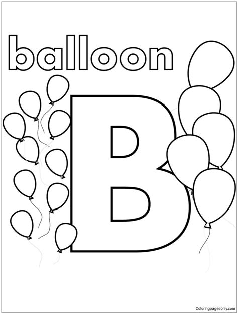 Coloring Letter B by B Is For Balloon Coloring Page Alphabet Coloring Pages