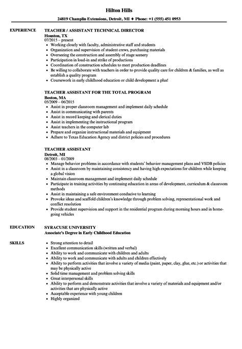 Teaching Assistant Resume by Teaching Assistant Sle Resume Bijeefopijburg Nl
