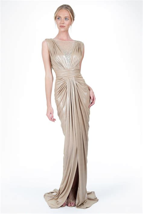 Drape Gowns - s prom dress metallic jersey draped gown with