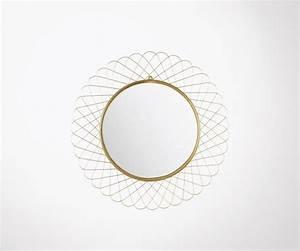 Miroir Doré Rond : grand miroir rond 90cm m tal dor forme de fleur ~ Teatrodelosmanantiales.com Idées de Décoration