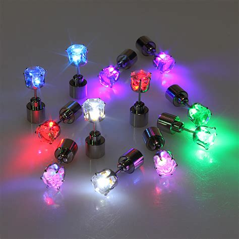 1pc light up led earring ear stud accessories