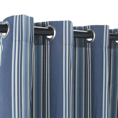 Striped Drapery by Shop Blue Stripe Polyester Outdoor Curtain With Grommets