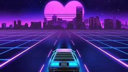 Vaporwave Sunset Heart 1980s Shape Resolution Delorean