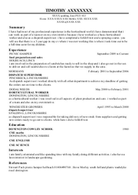 Horticulture Manager Resume by 41 Resources And Agriculture Cv Exles
