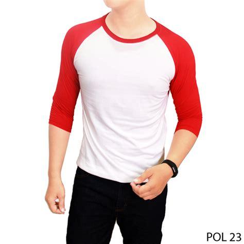 kaos raglan merah putih pol 23 gudang fashion