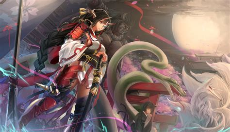 Samurai Anime Wallpaper - anime anime original characters snake fox
