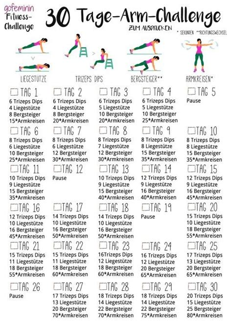 30 tage arm challenge sag den schlaffen winkearmen den kf an workout fitness fitness