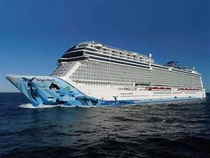 Massive Norwegian Bliss cruise ship featuring two-level go ...