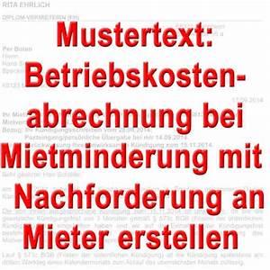 Abrechnung Mieter : mustertexte betriebskosten nebenkostenabrechnung muster ~ Themetempest.com Abrechnung