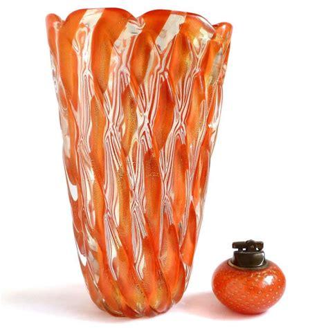 Orange Vases And Bowls by Alfredo Barbini Murano 1950s Orange Stripes Gold Flecks