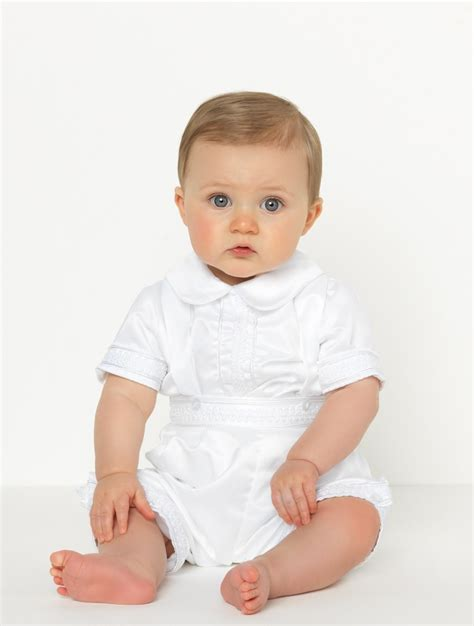 Baby boys white romper | Boys christening outfits | Blake | Roco