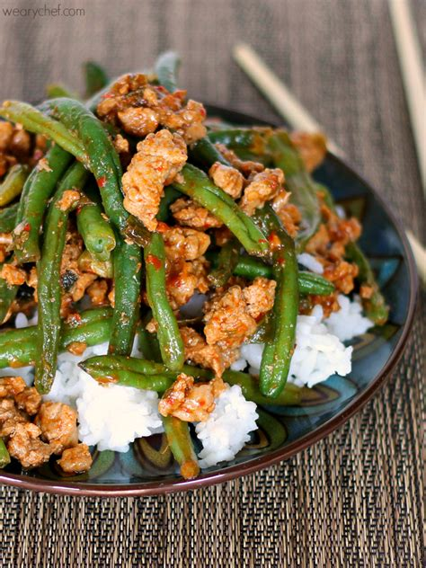 green beans recipe for thanksgiving dinner favorite chinese green beans with ground turkey the weary chef