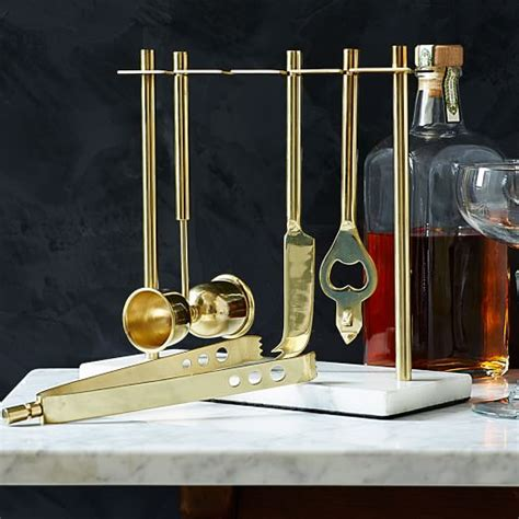 gold bar tools deco barware collection gold marble west elm 1255