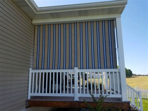 pleated drop curtains installed   porch kreiders canvas service