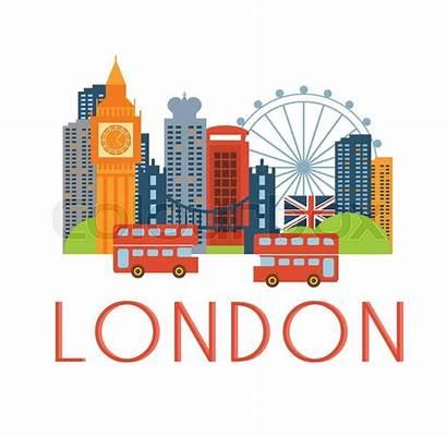 London Vector Scenery Cartoon Background Illustration Text