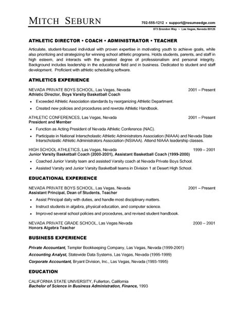 sample athletic resumes athletic director resume