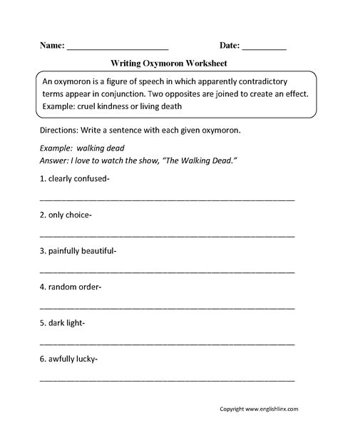 figurative language worksheets oxymoron worksheets
